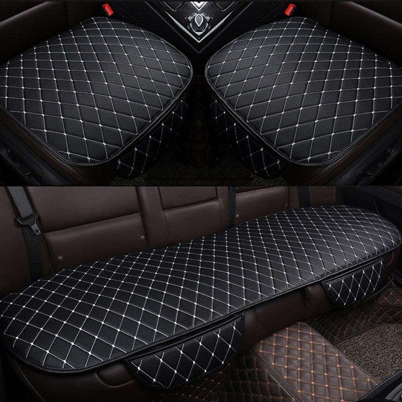 Asiento de cuero PU, Funda Universal para asiento, cojín para asiento trasero delantero, fundas para asiento trasero, Protector para silla de coche, accesorios interiores