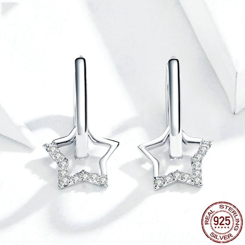 Pendientes transparentes de CZ para mujer, joyería de boda, joya de estrella,...