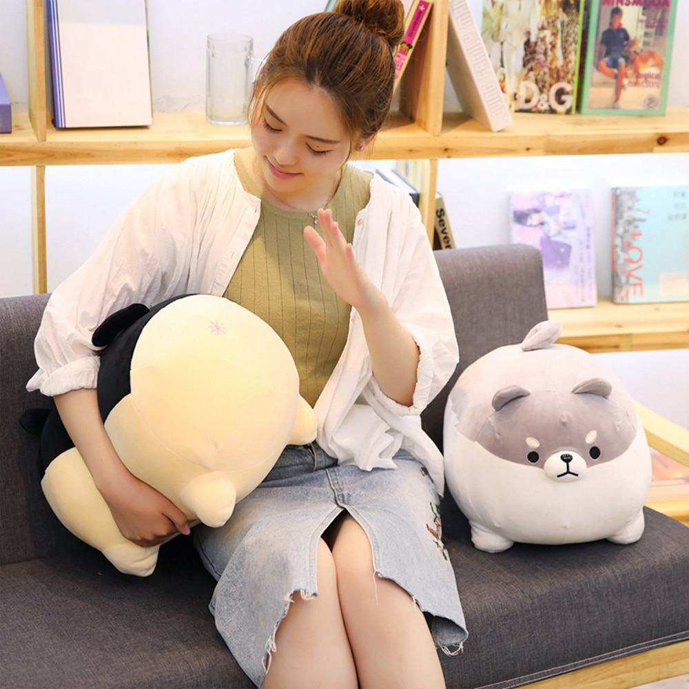 Cute Fat Round Plush Shiba Inu Toys Stuffed Animal Doggy Pillow Back Cushion Soft Gift Dolls for Kids Children and Girlfriend  - buy with discount