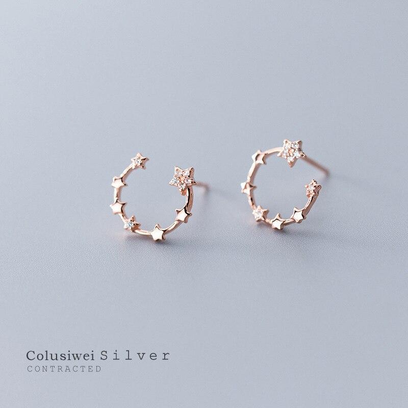 Colusiwei Twinkle Stars Earrings Bright Clear CZ C Shape Stud Earring for Women Real 925 Sterling Silver Fashion Jewelry