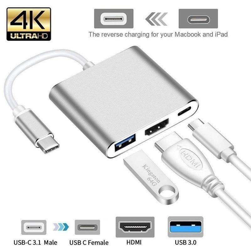 Tipo C a HDMI with USB 3,0 adaptador para Macbook iPad Samsung Huawei Xiaomi NoteBook USB C a HDMI USB 3,1 USB 3,0 Tupe C convertidor