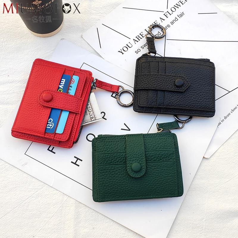 Monedero de lujo de diseño de alta calidad, Mini billetera portátil para mujer, llavero para bolso, tarjetero de cuero genuino ultrafino