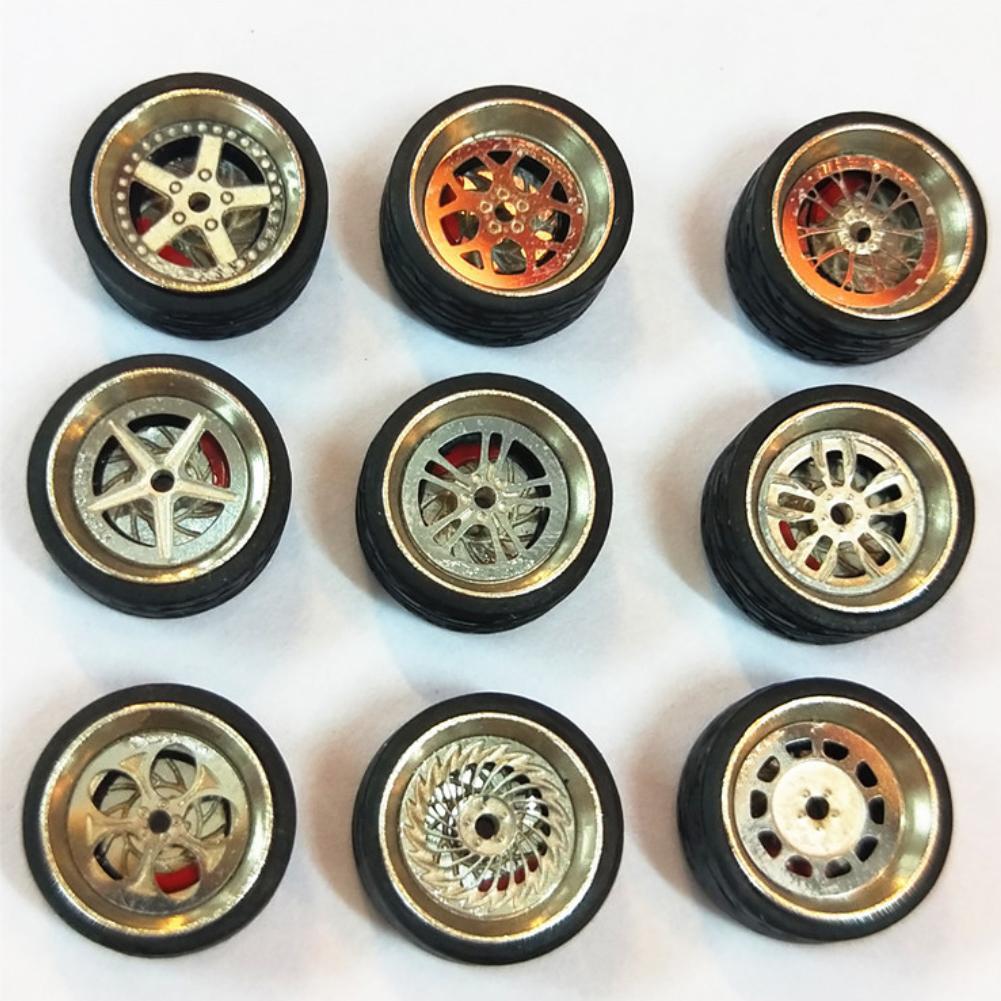 1/64 Cars Modified Wheels Tire Model Modification Parts Alloy Car Model Universal Children Car Refit Wheels Tires Toys