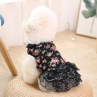 girl dog cat floral bow dress shirt pet puppy skirt spring summer clothes apparel 5 sizes 2021 trendy gift for pet