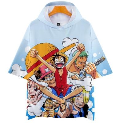 Quente Japonês Anime One Piece T-shirt Homem Traje Cosplay Mulher Periphera Periphera T-shirt