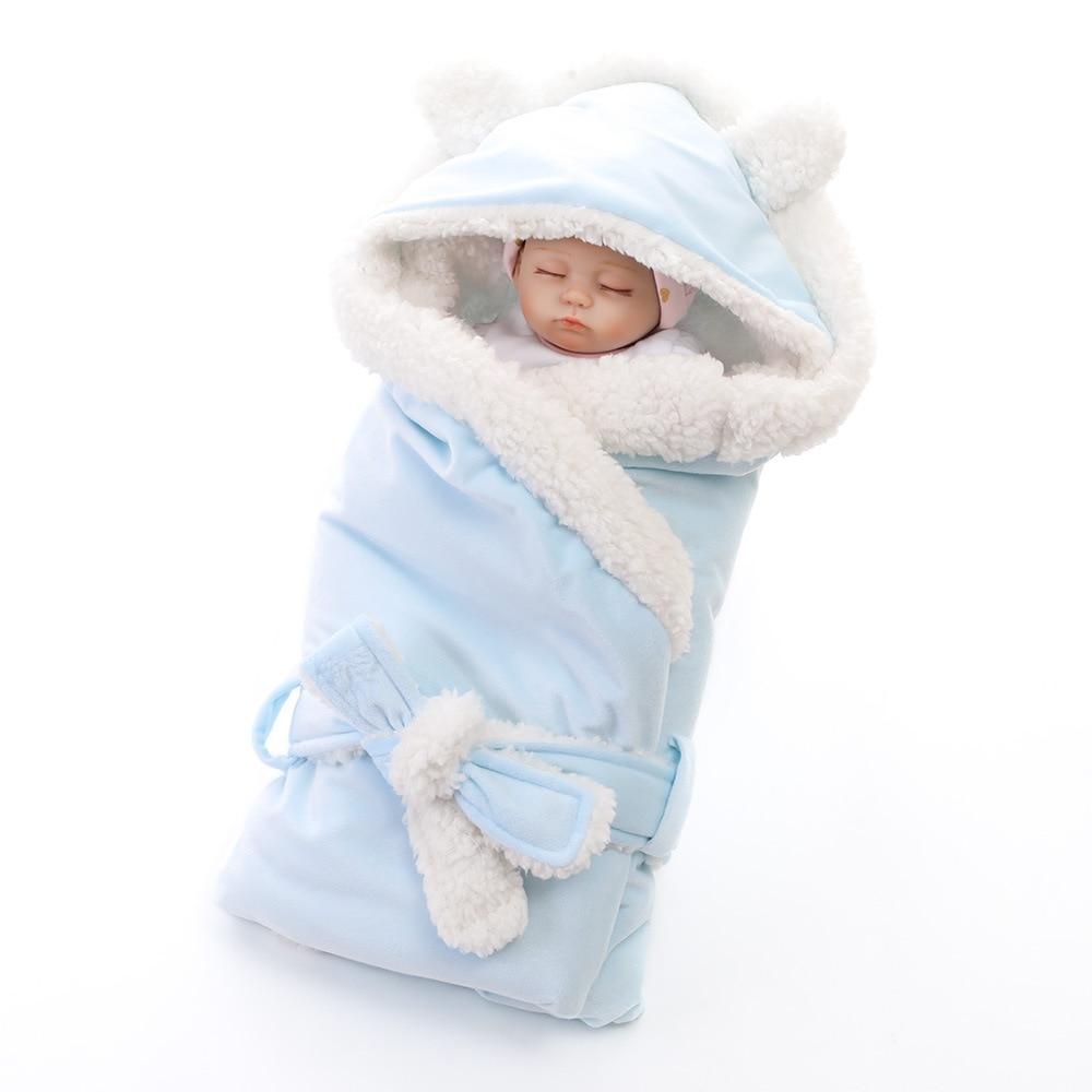 Baby Flannel blanket Soft Thickening Warm Toddler Hooded Swaddling Wrap Sleeping Bag Sleepwear Newborn Robes Stroller supplies