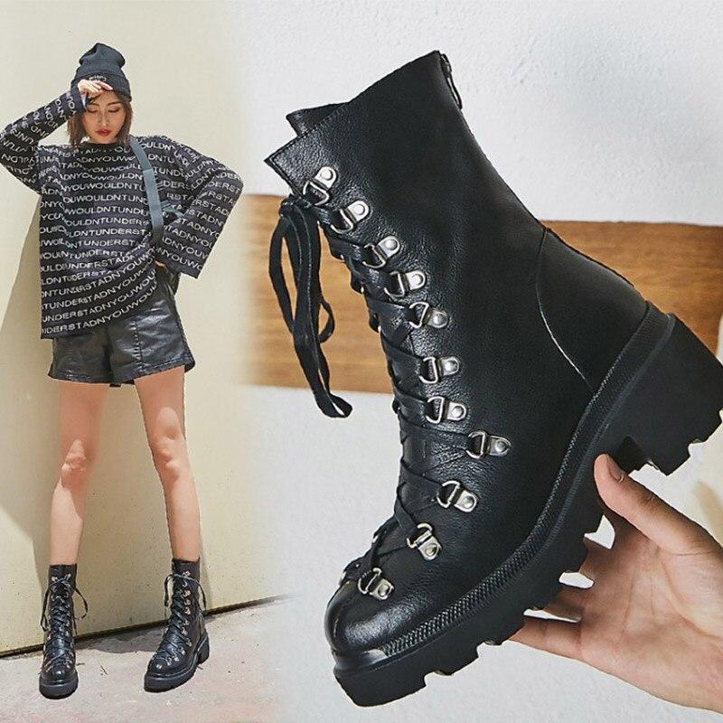 Zorssar Martin Bota de Couro Botas De 2019 Outono Inverno Moda Botas Curtas Lace-up Sapatos Tendência Da Moda das Mulheres Botas para As Mulheres