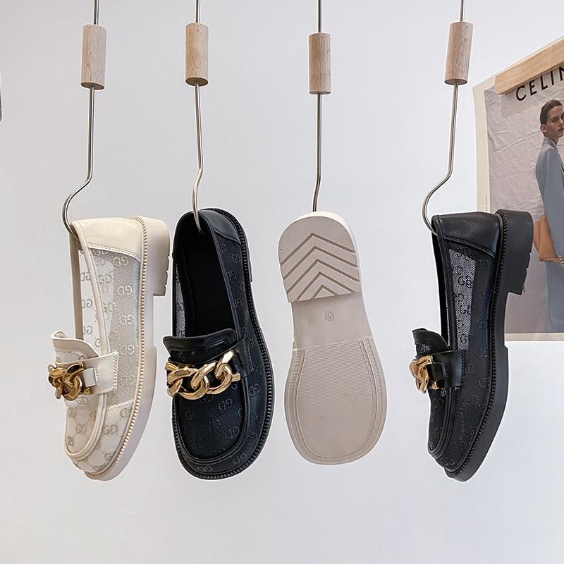 مصمم حذاء كاجوال نساء رياضة منصة صندل أسود جلد الانزلاق على أحذية لوفر تنفس موضة رياضة قماشية الشاطئ