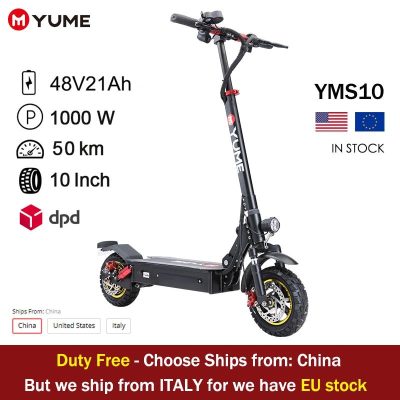 YUME S10 الولايات المتحدة والاتحاد الأوروبي الأسهم 1000 واط الخلفية سكوتر بموتور كهربائي 10 بوصة واسعة عجلة دراجة نارية سكوتر طوي للكبار