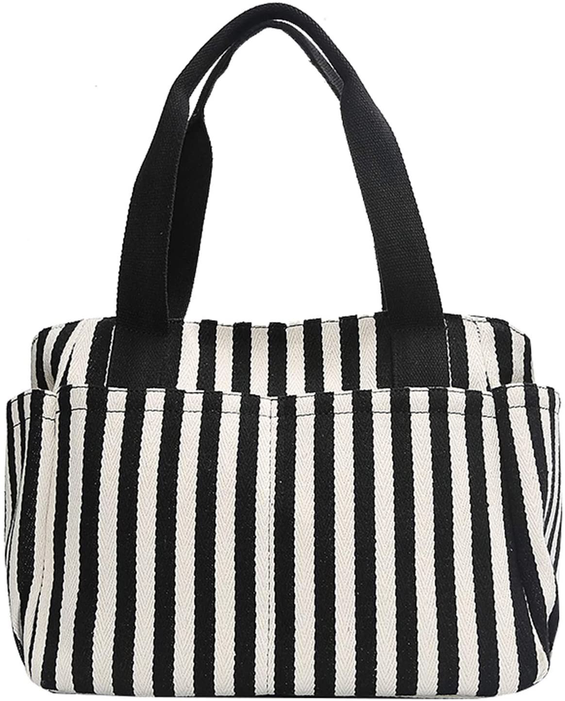 Striped Laptop Tote Handbag With 9 pockets Womens Canvas Daily Shoulder Work Bag Gifts