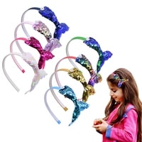 european and american fashion mermaid headband for girls birthday gift colorful sequins mermaid tail childrens hair accessories