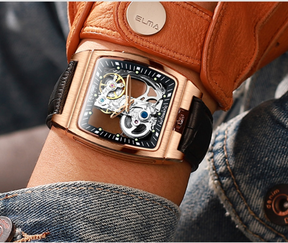 TEVISE Brand Automatic Mechanical Double Transparent Case Design Mens Watch Luminous First Leather S