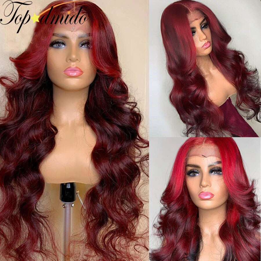 Topodmido Highlight Red Color 13x4 Lace Front Wigs with Baby Hair Remy Human Hair Wig Brazilian Remy Hair Glueless Lace Wigs