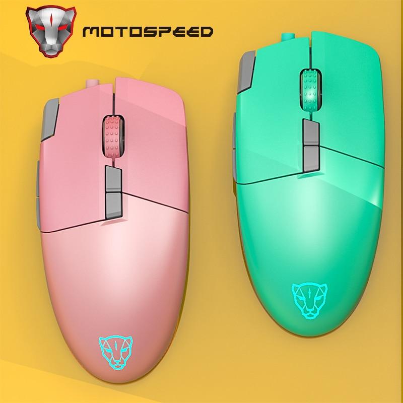 Motospeed-mouse gamer feminino v200 com fio, 8 teclas, portátil, para computador hp, dell, huawei e notebook