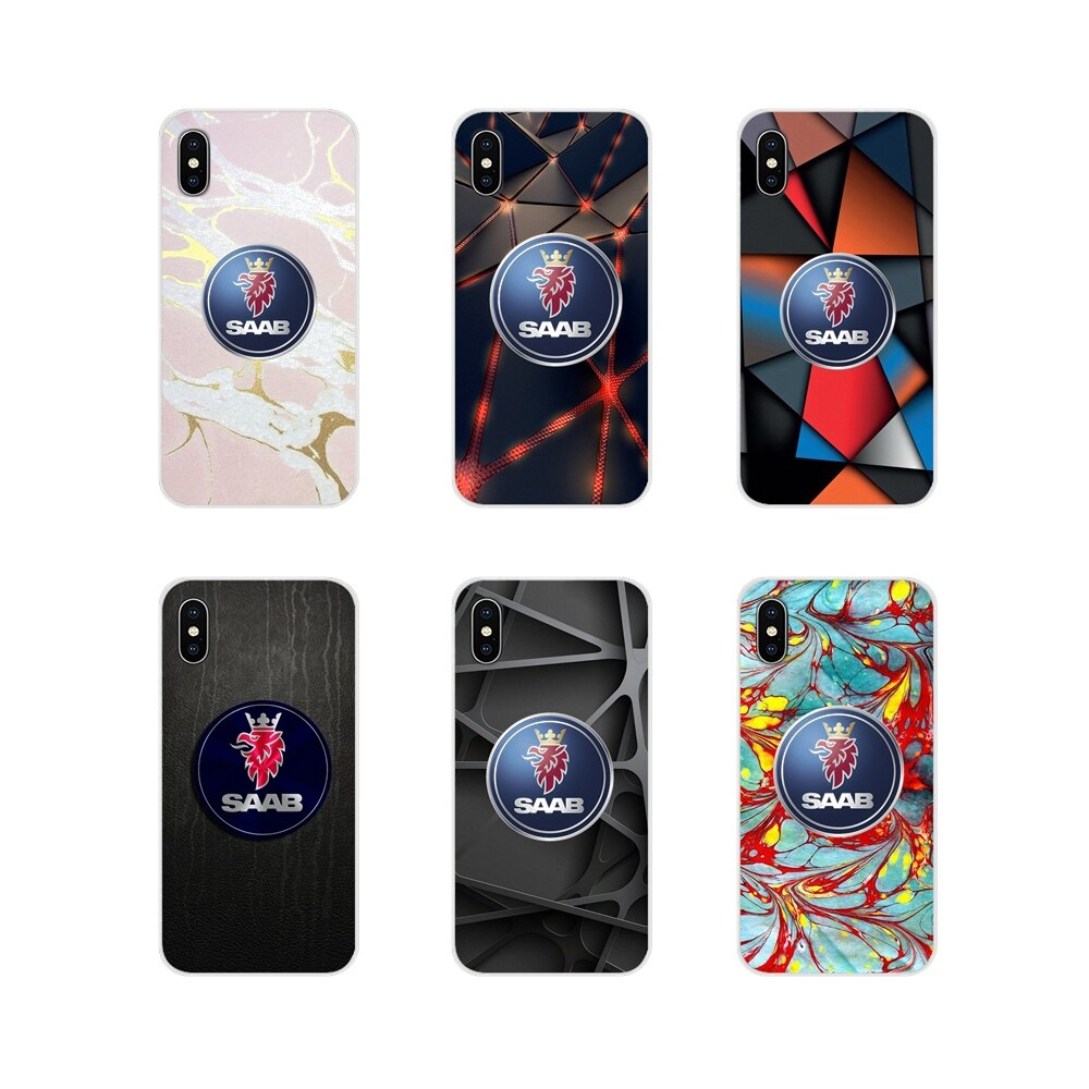 Fundas para Apple iPhone X XR XS 11Pro MAX 4S 5S 5C SE 6 S 7 8 Plus ipod touch 5 6, fundas transparentes suaves con logo de mármol saab para coche