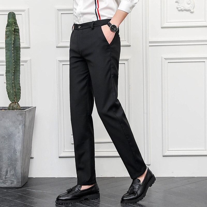 Брюки мужские костюмные повседневные, облегающие офисные штаны, синие классические брюки, мужские деловые брюки хаки, черные