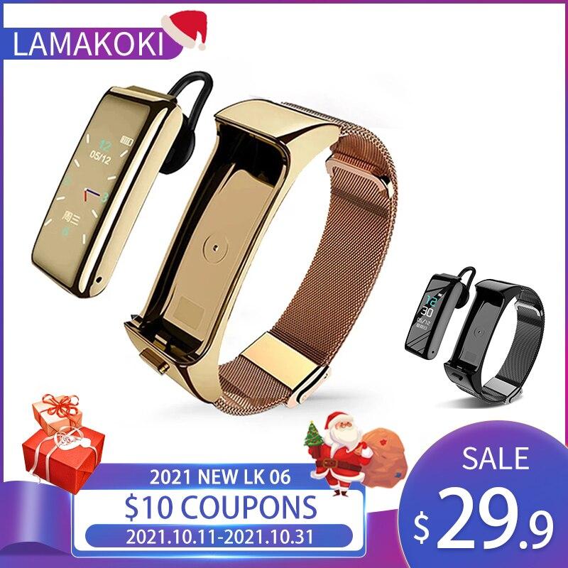 LAMAKOKI 2021 جديد LK06 الصلب حزام الساعات الذكية الرجال النساء بلوتوث دعوة سماعة سوار ذكي Smartwatch ساعة متعددة الوظائف