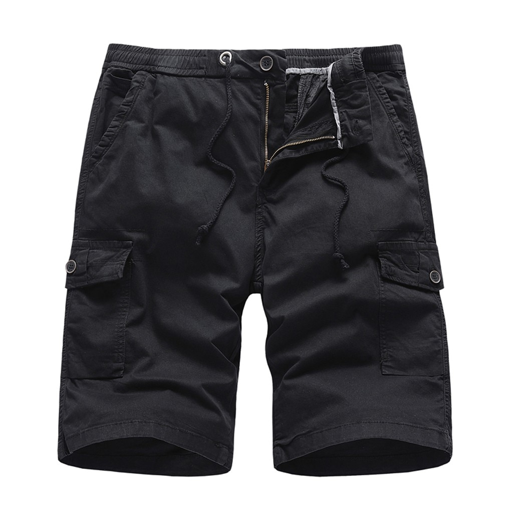 Шорты-карго мужские камуфляжные, хлопок, повседневные штаны для работы, однотонные, с карманами, A20