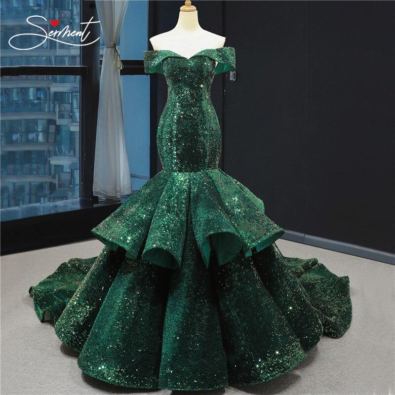 Luxury 2020 Mermaid big sequin wedding dress OllyMurs with detachable tail bride Flash wedding dress sleeveless V-neck Tailored