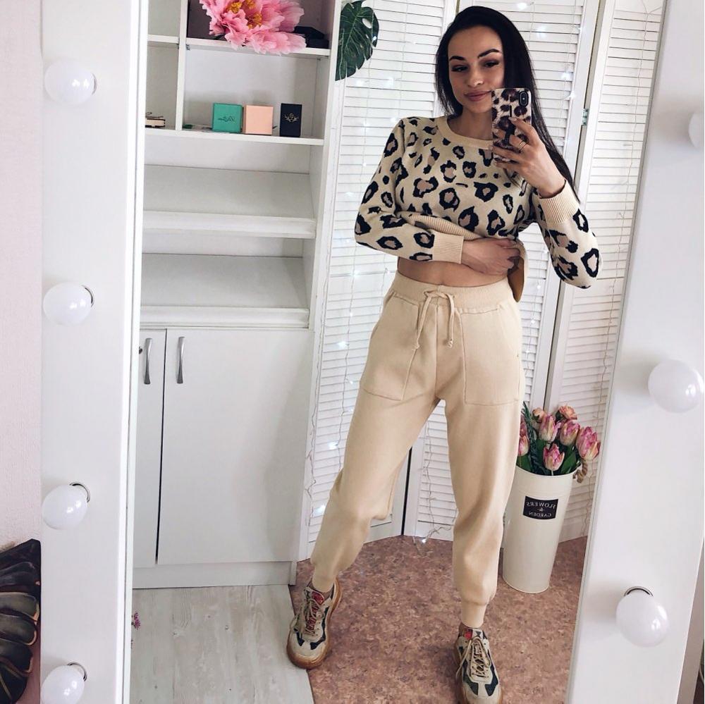 Moda Retro mujer trajes de punto Leopardo de manga larga cuello redondo suéter + encaje hasta la cintura bolsillo Harem pantalones conjuntos Coreanos
