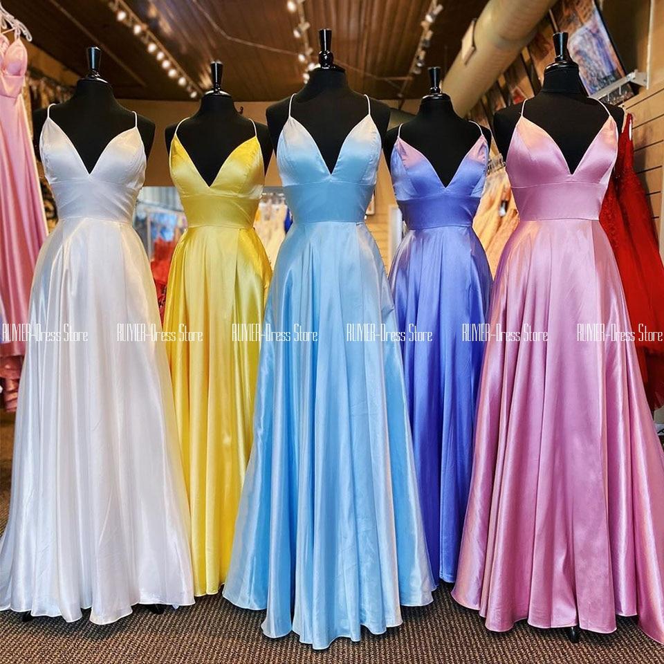 فستان سهرة ساتان بنمط لافندر ، فستان حفلة برقبة على شكل v ، مع ظهر برباط ، أبيض ، أصفر ، سباندكس ، ساتان