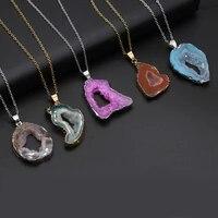 natural semi precious stone agate pendant irregular silver edge 405cm for diy jewelry making high quality gift