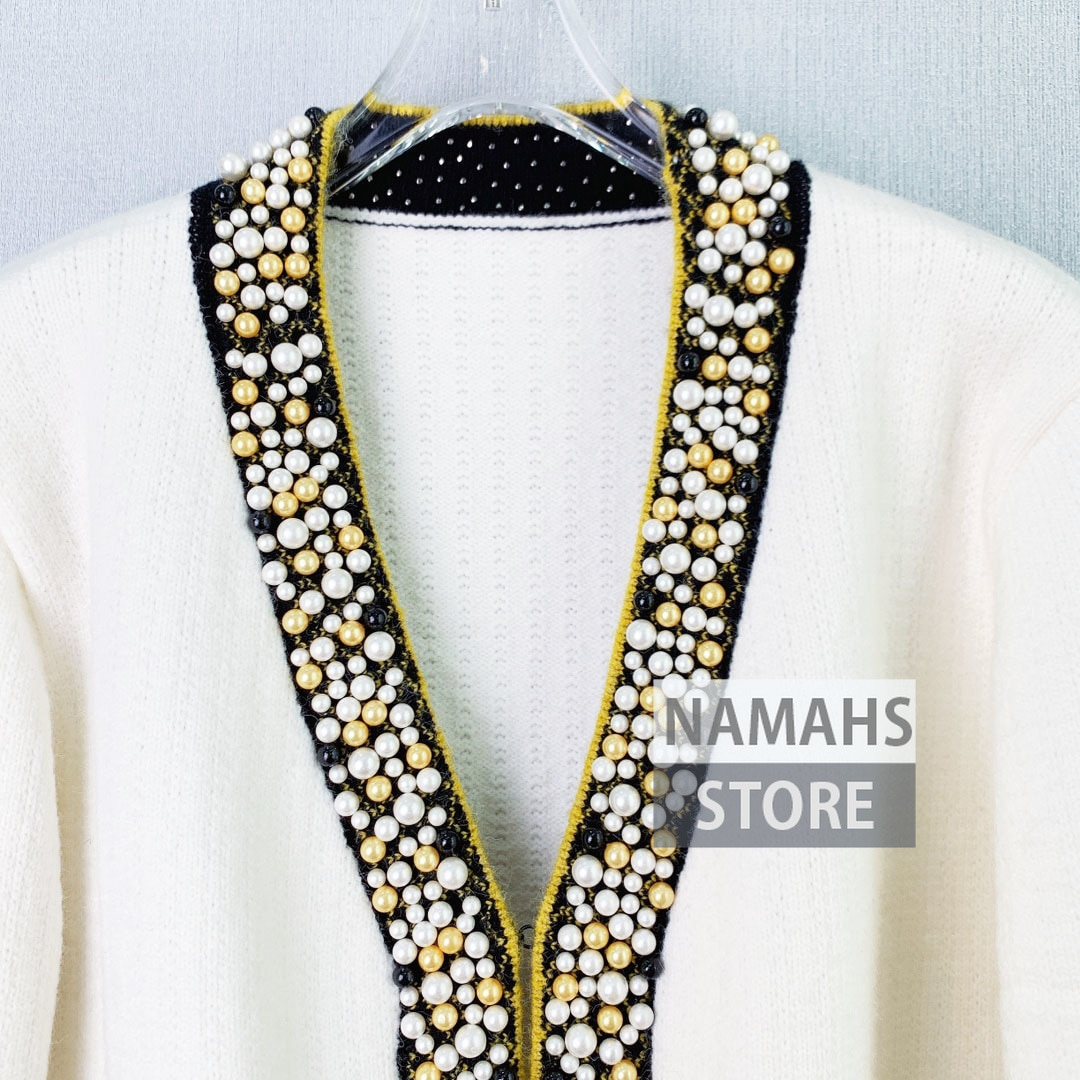 fall fashion sweaters for women high end knitted cardigan pearl beading v neck long sleeve design cardigans sweater wool jumpers enlarge