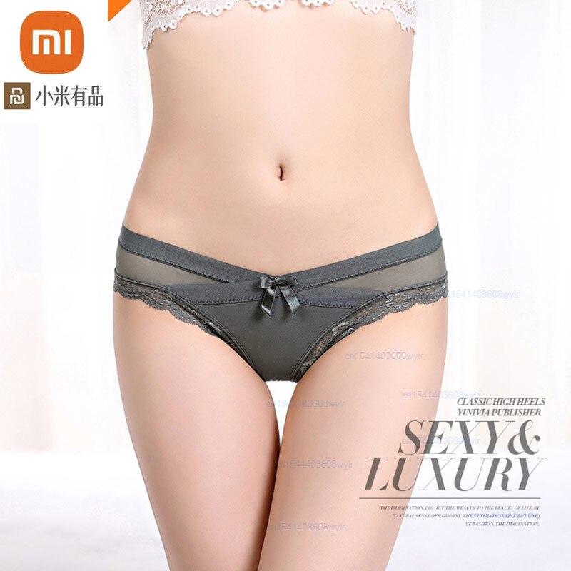 Xiaomi-ropa interior de encaje para mujer, transpirables bragas de algodón, entrepierna baja, ropa íntima transparente sin costuras, 3 uds.