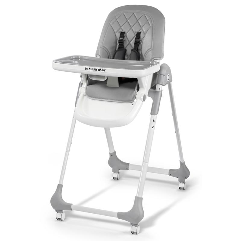 Dearest Children's High-legged Feeding Chair Edible Grade Split Double-layer Dinner Plate,One-button Folding For Easy Storage