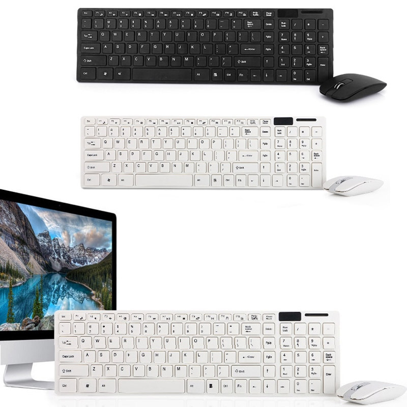 Teclado de juego Combo ratón inalámbrico de 2,4G Ultra Slim mudo teclado set de ratón para PC portátil de escritorio OUJ99