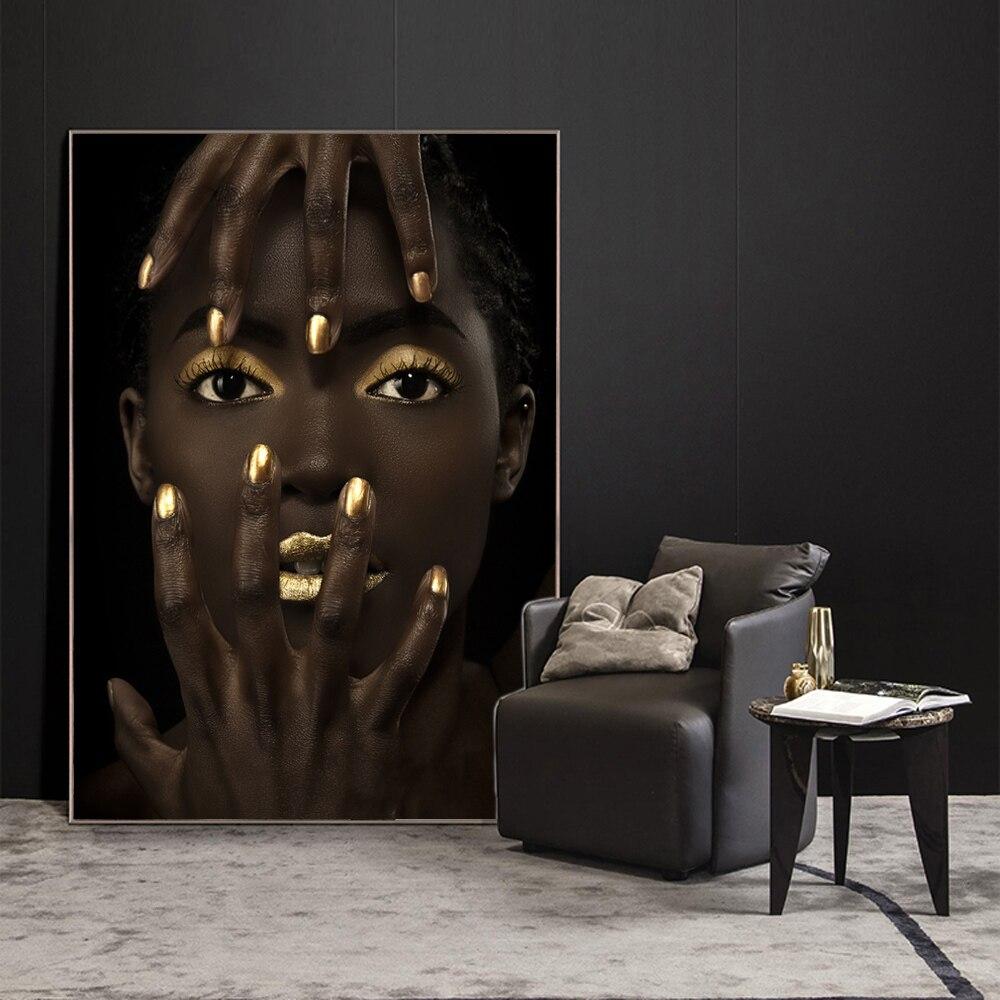 Maquillaje de chica negra, lienzo de pared, impresiones artísticas, modelo de moda, arte de pared, pintura impresa, imágenes para decoración de pared del hogar, sin marco