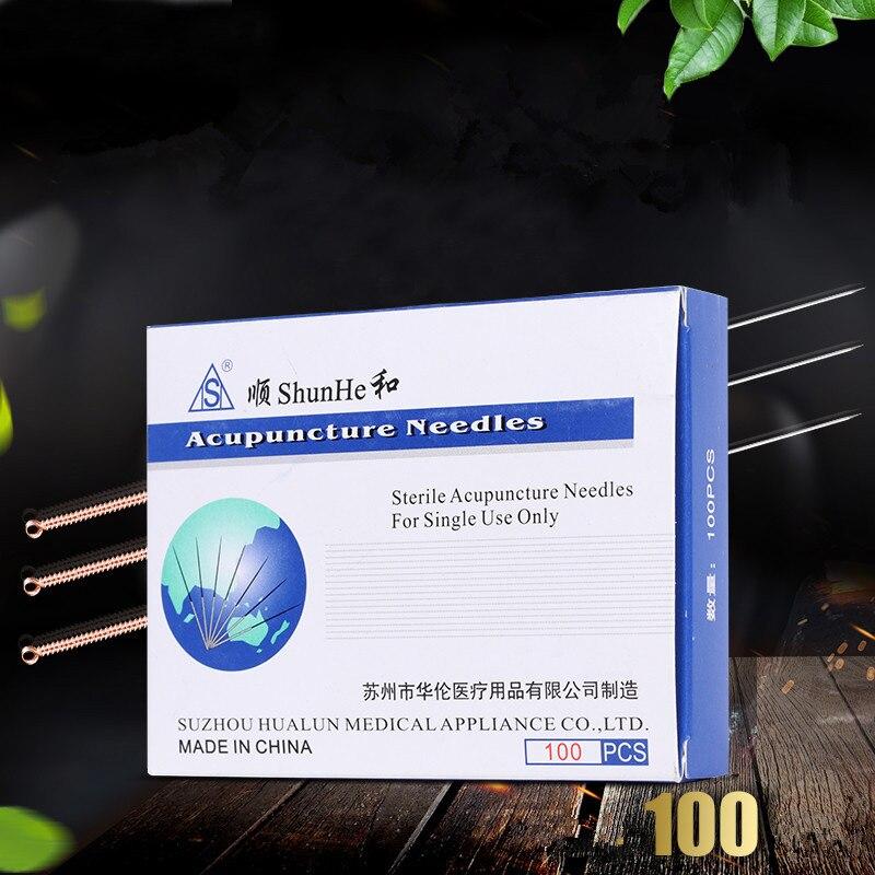 100 pçs/caixa agulhas de cobre tradicionais chinesas da acupuntura do punho descartável estéril com músculo individual do relaxamento do pacote