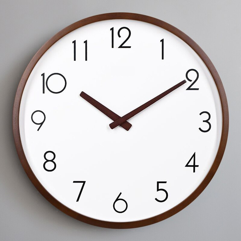 Ultra-Quiet Hanging Clock Household Round Living Room Quartz Wall Clock Modern Design Simple Digital Clocks Bedroom Wall Watch