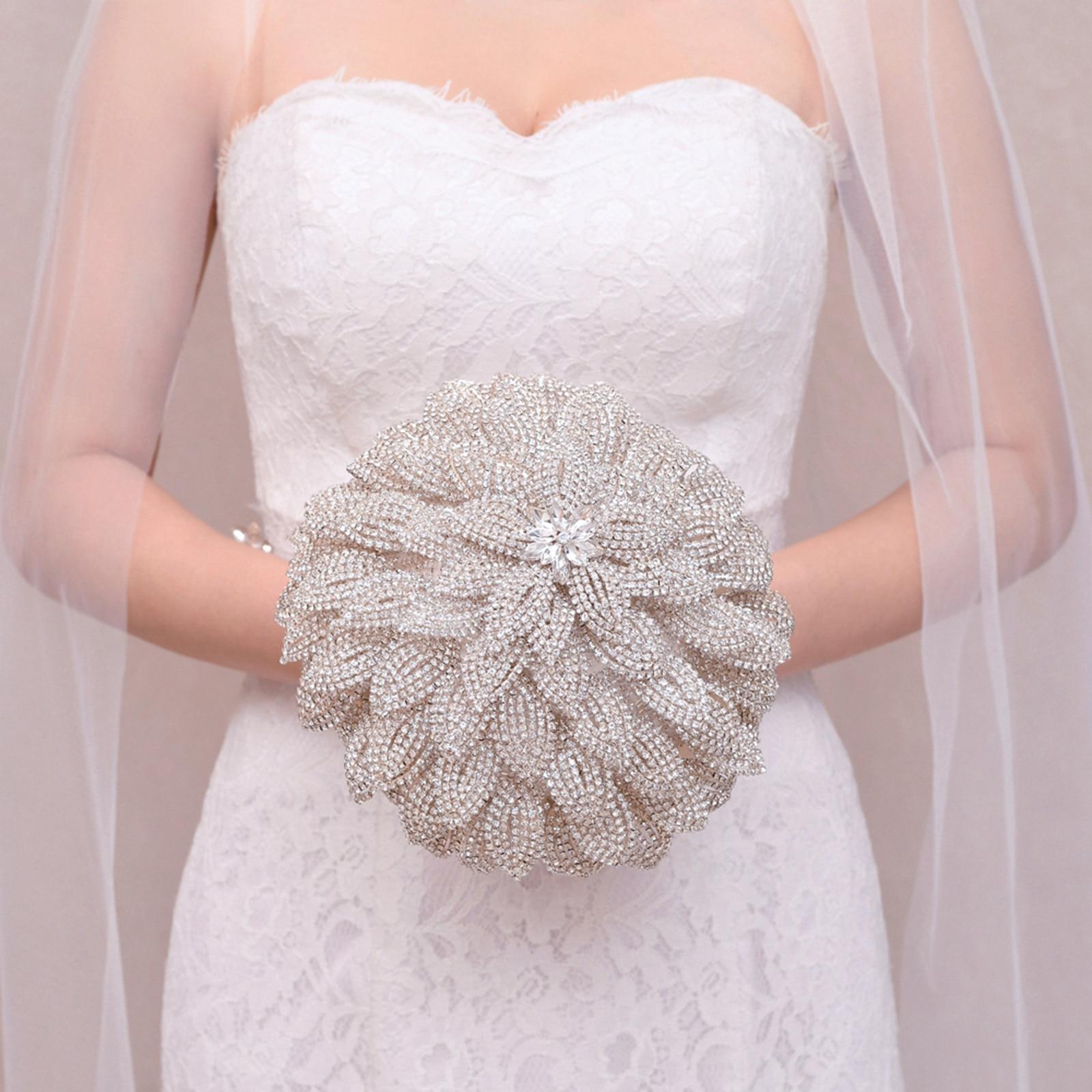 Цветочный свадебный букет, Алмазный букет невесты, серебряный алмазный букет, свадебный цветок, букет подружки невесты, ювелирные изделия, ...
