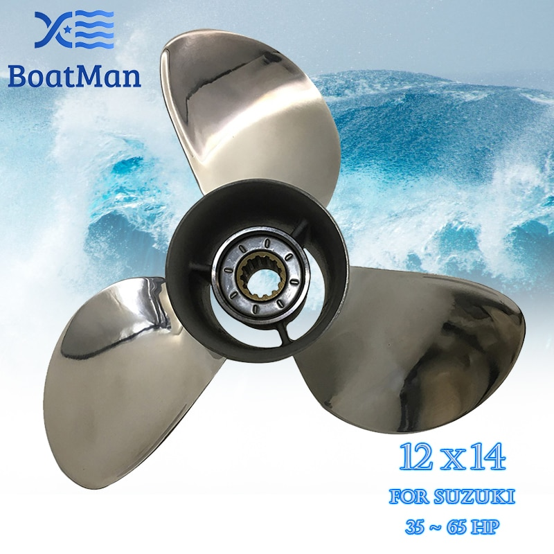 Outboard Propeller 12x14 For Suzuki Engine 35-65 HP Stainless Steel 13 Tooth splines Outlet Boat Parts SS12-0000-014