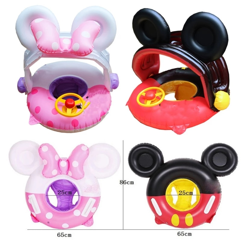 Cartoon Baby Swimming Ring with Sunshade Pool Float Inflatable Circle Seat Toys Party