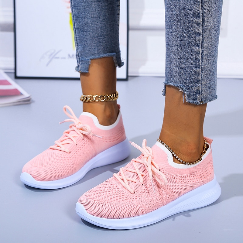 2021 New Women's Sneakers Breathable Mesh Casual Flat Running Shoes Women Knitted Lace Up Vulcanized