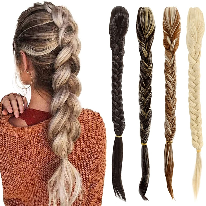 AliExpress - SHANGZI Synthetic Hair Braided Plaited fishtail fishbone Drawstring Ponytail Clip in hair Extension Black Color ChignonHairpiece