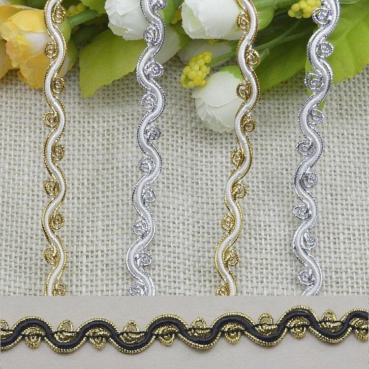Cinta para ajustadores 5m dorada y plateada, tela de encaje curvada con cordón, costura de encaje trenzado con Ciempiés, artesanía de boda, accesorios de ropa DIY para decoración del hogar