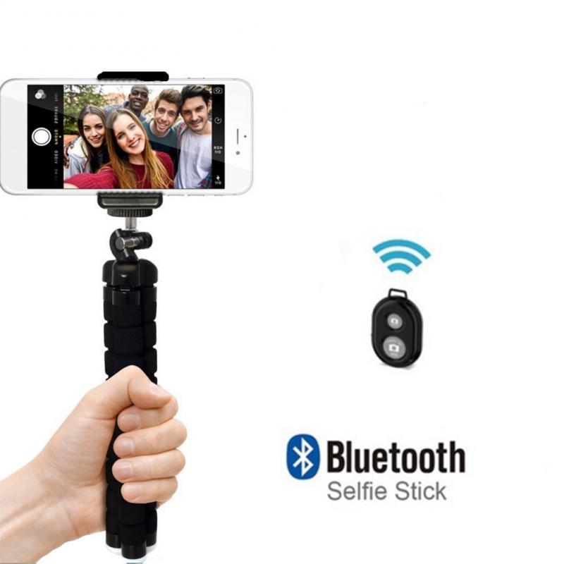 Trípode Universal para Selfie de pulpo de esponja conjunto de cámara de Selfie para teléfono móvil soporte Bluetooth Disparador remoto para Webcast