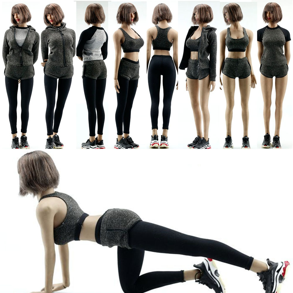 In Stock Scale 1/6 Scale Female Soldier FA008 Clothes Yoga Suit Sport Clothes Pants Model Fitness Su