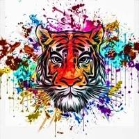 Peinture diamant rond theme tigre  broderie  couleur  pour decoration de maison  cadeau de noel bricolage nouvelle collection