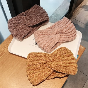 New Knitted Knot Wide Headband for Women Autumn Winter Girls Warm Wool Knitted Hair Accessories Headwear Elastic Headwrap Turban