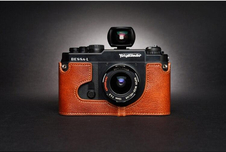 تصميم ل voigtusb2.0 بيسا R BESSA-L اليدوية جلد طبيعي كاميرا نصف غطاء