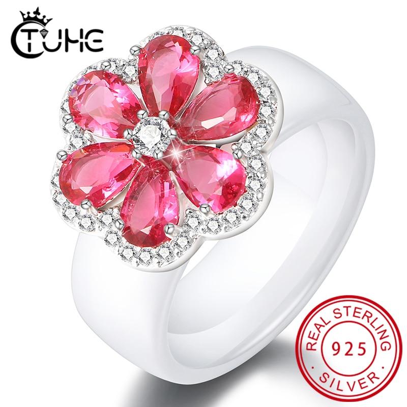 Elegante anillo de mujer CZ rojo transparente con forma de flor, anillos de cerámica para mujer, hermosos anillos para mujer, regalo de joyería de boda