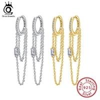 orsa jewels 925 sterling silver long line hoop drop earrings clear crystal zirconia earring for women jewelry brincos eqe33
