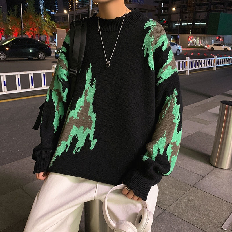 Мужские свитера с принтом, корейские Повседневные свитера, мужские Модные свободные свитера, Мужская Уличная одежда в стиле хип-хоп, теплый ...
