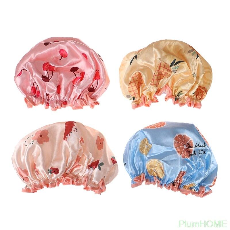 Waterproof Bath Hat Double Layer Shower Hair Cover Women Supplies Shower Cap Bathroom Accessories