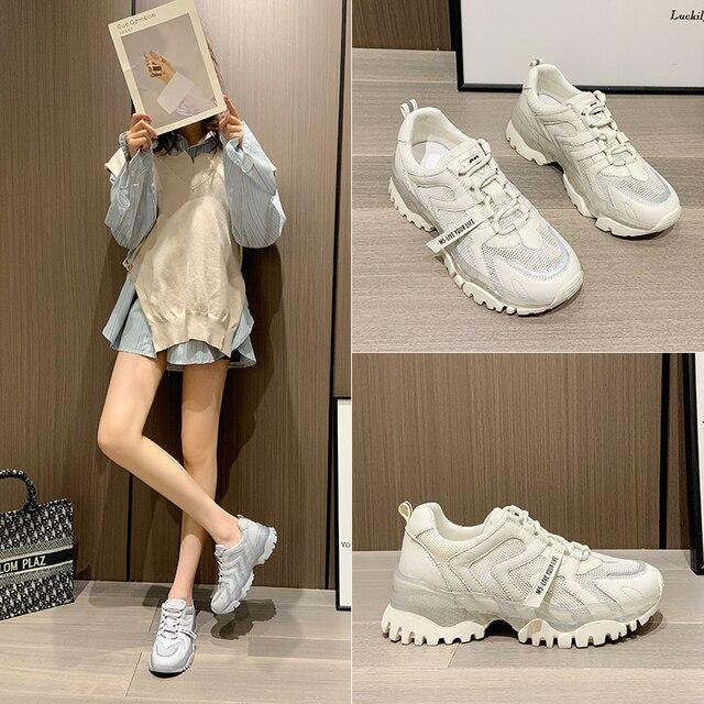 AIYUQI Women's Sneakers 2021 Summer New Single Mesh Platform Casual Shoes Ladies Korean Student Shoes Girl 8