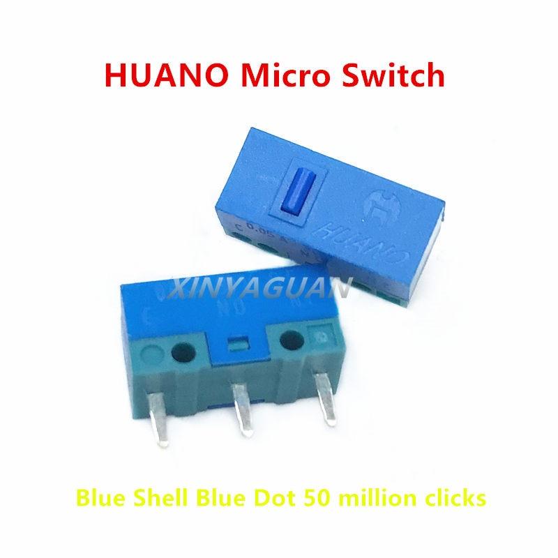 100 قطع جديد الأصلي HUANO ماوس مايكرو التبديل الأزرق شل الأزرق نقطة 50 مليون مرات 0.78N ماوس الكمبيوتر 3 دبابيس زر التبديل